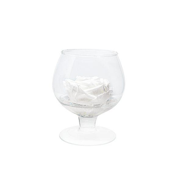Coppa cognac in vetro con rosa stabilizzata bianca Parodia